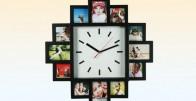 Crni zidni sat za 12 fotografija
