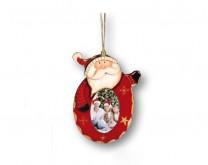 Djed Božićnjak - drveni ukras za bor sa Vašom slikom