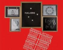 Čuvar sjećanja - drveni okvir za 3 fotografije, 132 slova i ploča s kredom