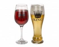 King + Queen - čaše za vino i pivo za par