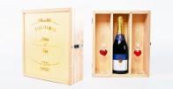 Drvena kutija izgravirana s Vašom porukom + Personalizirani šampanjac i 2 čaše sa srcima