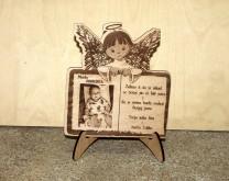 Anđeo čuvar - Drveni okvir ugraviran s djetetovom slikom i posvetom