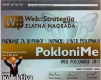 1. mjesto - Zlatna nagrada za doprinos i inovaciju u web poslovanju za 2011. godinu