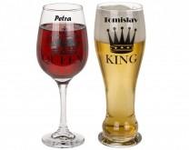 Queen + King - čaše za vino i pivo s vašim imenima