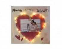 Always in my heart - drveni okvir sa slikom po želji i svjećicama