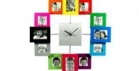 Šareni zidni sat za 12 fotografija